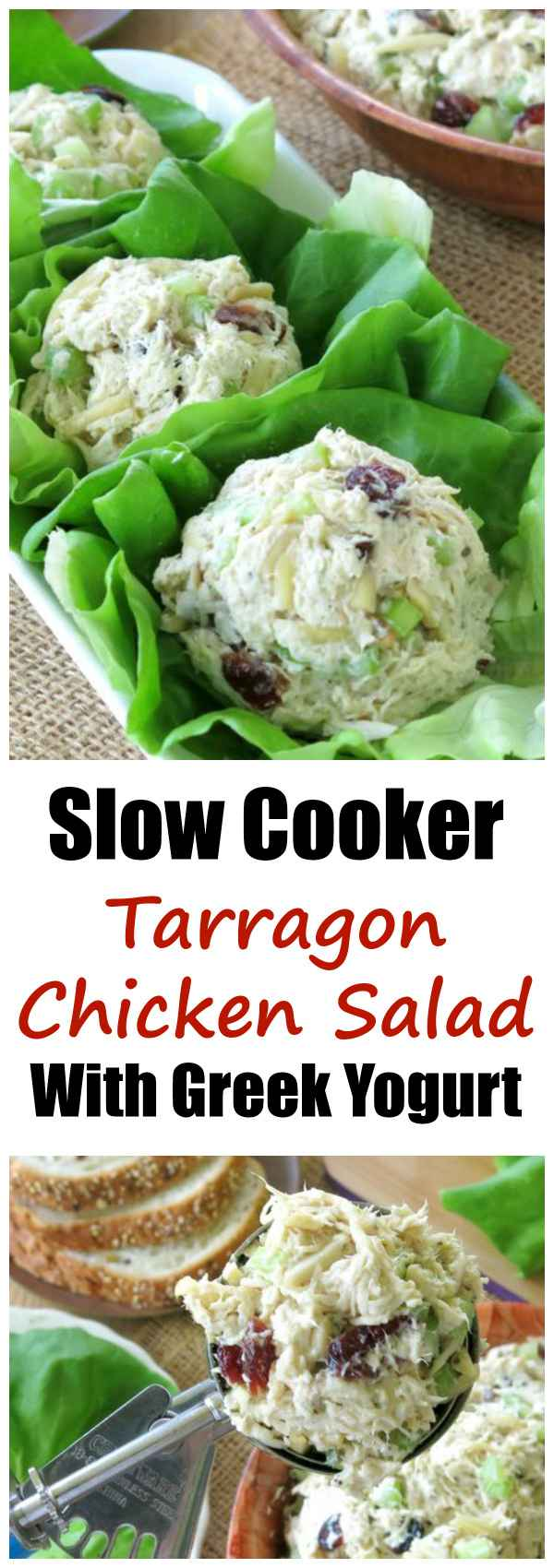 Slow Cooker Tarragon Chicken Salad Recipe with Greek Yogurt is low-carb and gluten-free. We love it for entertaining and for lunches!