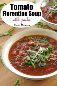Tomato Florentine Soup with pasta Pin