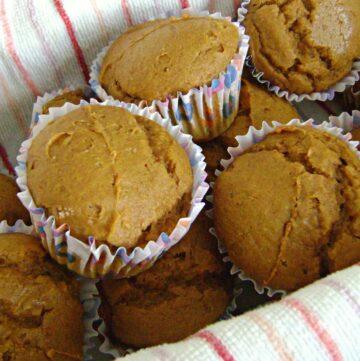 2 ingredient pumpkin muffins in a basket.