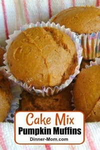 Cake Mix Pumpkin Muffins in basket