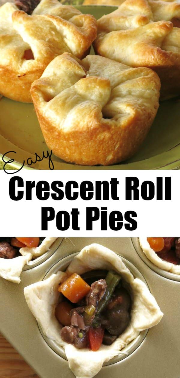 Easy Crescent Roll Pot Pies with beef and veggies in red wine sauce! Simple to make using Pillsbury crescent rolls to make the crust. Kids and adults will love these! #crescentrolls #potpie #dinnerrecipe