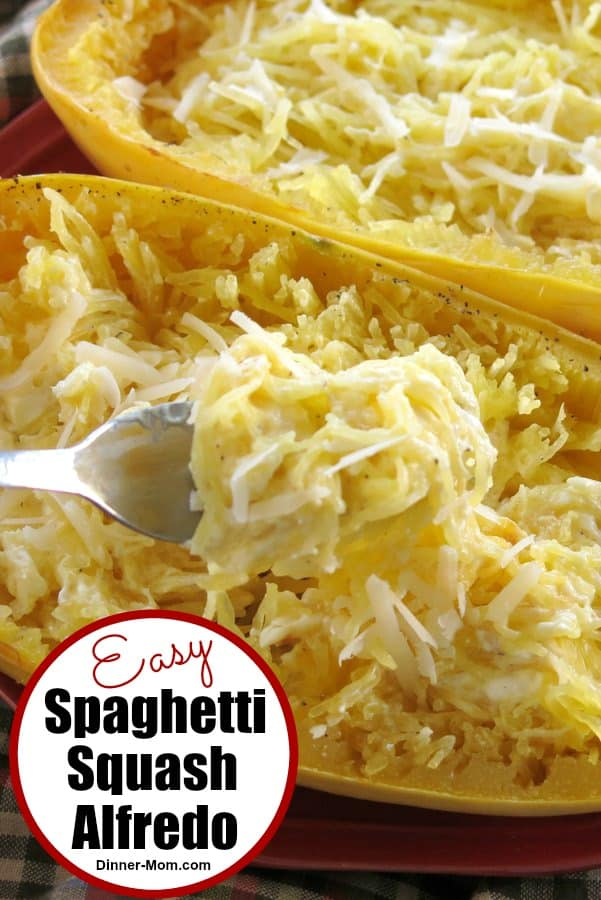 Spaghetti Squash Alfredo has just 5 ingredients. It's lower-carb, gluten-free, healthy and easy to make. #spaghettisquashalfredo #easyrecipes