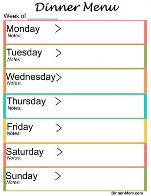 graphic about Printable Dinner Planner titled Cost-free Printable Weekly Meal Menu Planner - The Evening meal-Mother