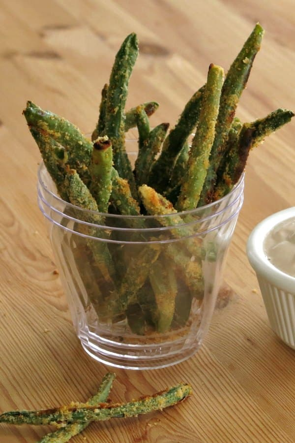 Keto Baked Green Bean Fries standing in cup