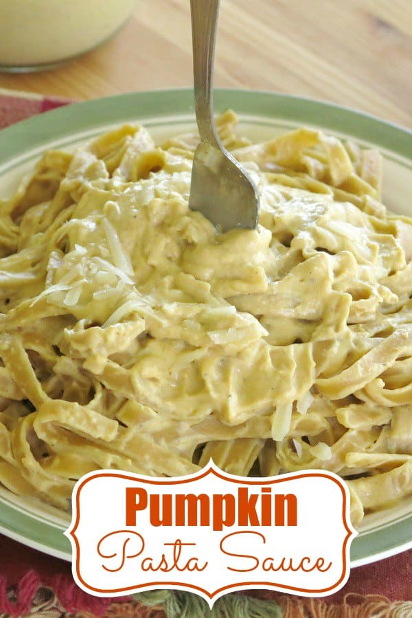 Creamy Pumpkin Pasta Sauce is perfect over noodles, in lasagna...anywhere you love to use pasta sauce. Perfect for fall recipes. Plus it freezes! #pumpkin #fallrecipes #pasta