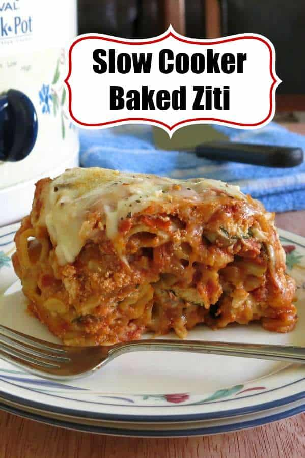 Slow Cooker Baked Ziti with Three Cheeses (but you can add meat and veggies.) You don't have to cook the noodles first in this easy recipe for the crock-pot. We love it for entertaining or just enjoying a a comfort dish with the family. #slowcooker #bakedziti