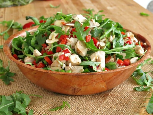 Arugula Rice Salad with Chicken in a bowl