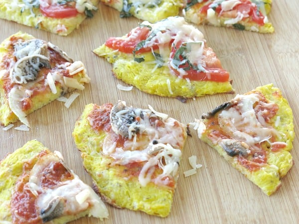 Spaghetti Squash Pizza Crust Recipe cut into slices