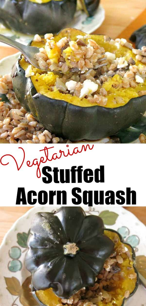Vegetarian Stuffed Acorn Squash with farro, mushrooms, white beans and feta. Perfect for holiday dinners like Thanksgiving or Christmas or any Meatless Monday! #acornsquash #vegetarian