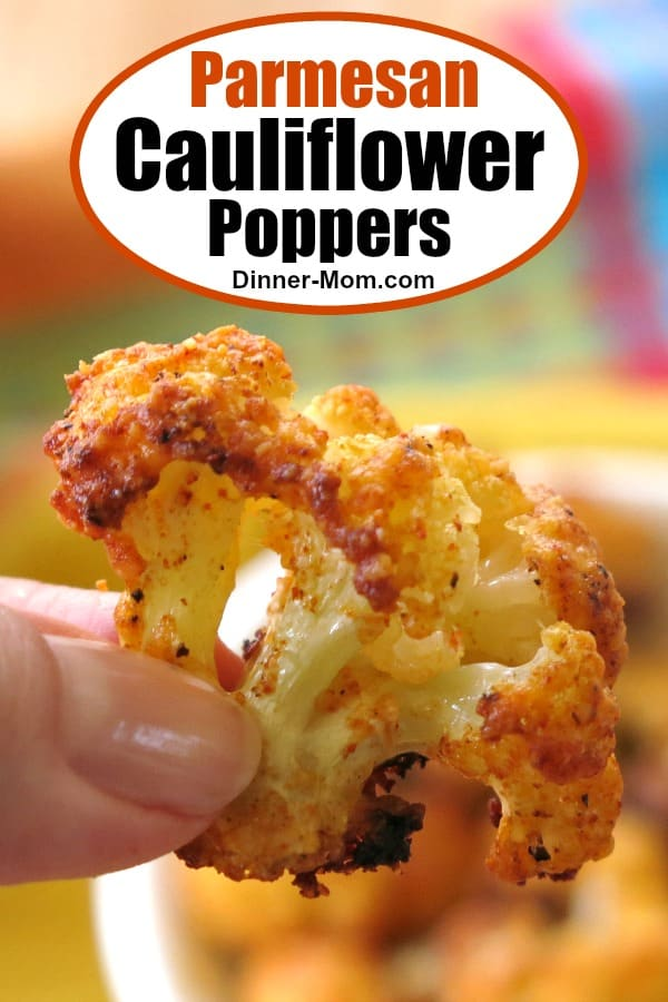 Parmesan Cauliflower Poppers are a healthy snack that just happens to be low-carb and keto-friendly too!  Make plenty because they go fast! #cauliflowerpoppers #healthysnack