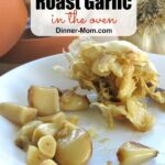 Pinterest image with garlic head with cloves removed