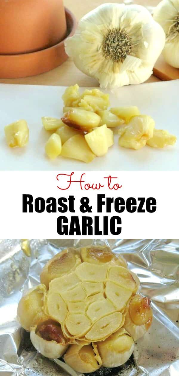 How to Roast Garlic Cloves, Freeze and Use in Recipes - Easy, low-carb way to add flavor. 5 easy steps: slice, drizzle with oil, wrap, bake, squeeze them out and enjoy! #roastedgarlic #garlic #freezerfriendly #lowcarbdiet