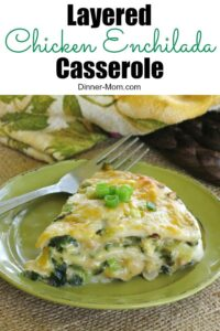 Layered Chicken Enchilada Casserole Pin