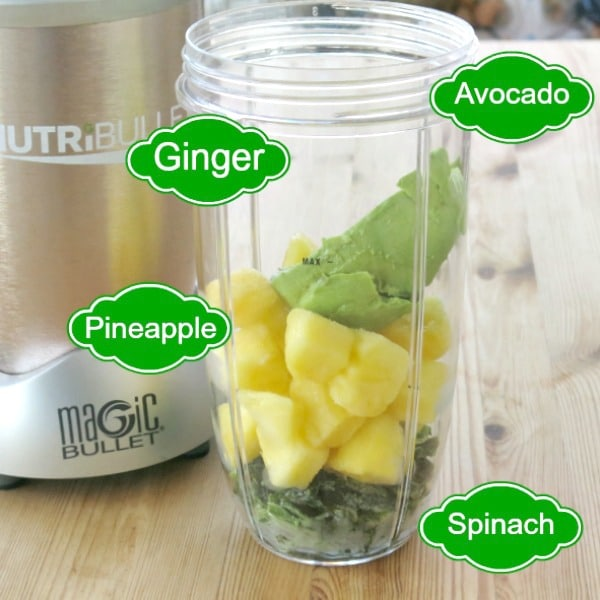 Graphic with pineapple green smoothie ingredients