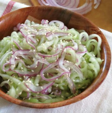 Cucumber Onion Salad in a bowl.