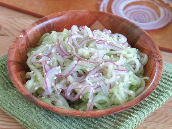 Cucumber and Onion Salad in bowl