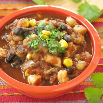 Bowl of easy chicken tortilla soup