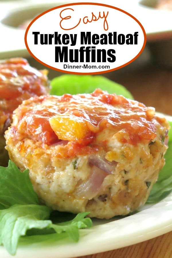 Make Turkey Meatloaf Muffins in a cupcake pan. They cook quickly so they're perfect for weeknight dinners. We use oatmeal to make them gluten-free.  #turkeymeatloafmuffins #easydinner