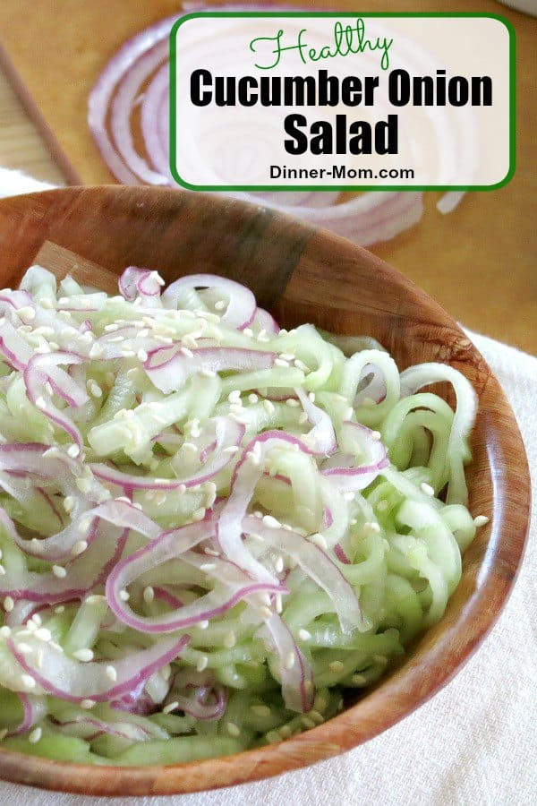 This healthy Cucumber Onion Salad recipe has just 4 ingredients and is ready in minutes! We used a spiralizer, but you don't have too! #cucumberonionsalad #healthyrecipes
