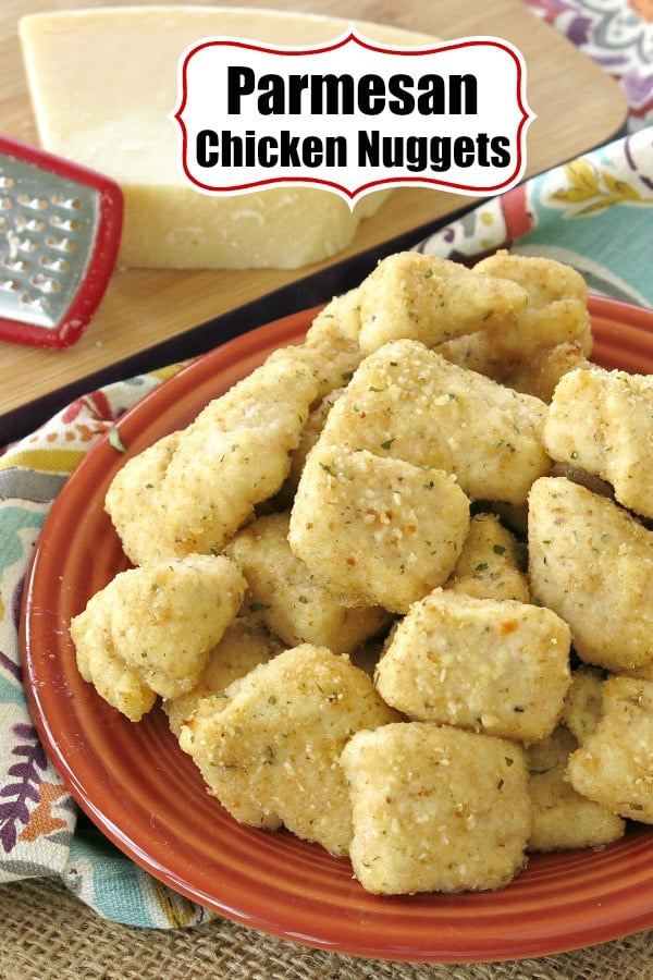Parmesan Chicken Nuggets - lightly breaded and baked in the oven for a healthy version that's quick and easy too! Just 5 ingredients and ready in under 30 minutes. Tips to freeze from our Make Ahead Meal Kitchen. #chickenrecipes #nuggets #kidfriendly #5ingredients #easydinner #dinner #dinnerrecipes #lowcarbdiet