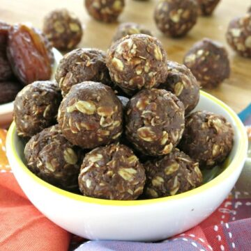 Chocolate Date Balls in a bowl