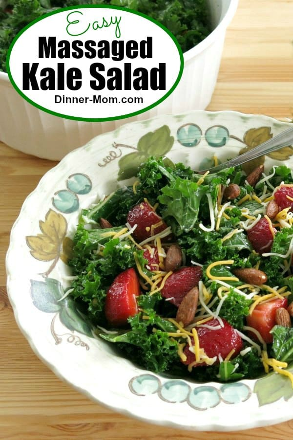 Massaged Kale Salad with lemon dressing is so good you'll forget that it's healthy! We've got the secret to tender greens! #massagedkalesalad #saladrecipes