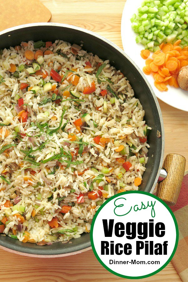 Veggie Rice Pilaf is a healthy side dish with lots of vegetables or becomes the main dish if you add beans, chicken or shrimp. #veggiericepilaf #ricepilaf