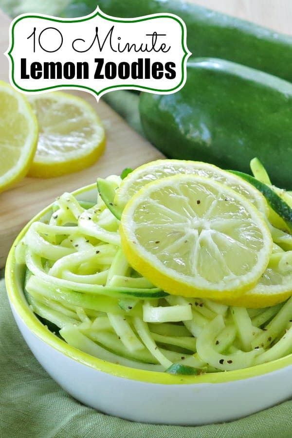 Easy Lemon Zucchini Noodles are ready in in just 10 Minutes! Pair them with shrimp, chicken or beef for an easy and healthy dinner! Low-carb, gluten-free alternative to pasta. #zucchini #zoodles #easyrecipe #sidedish #glutenfree #lowcarbdiet #lemon #dinnermom