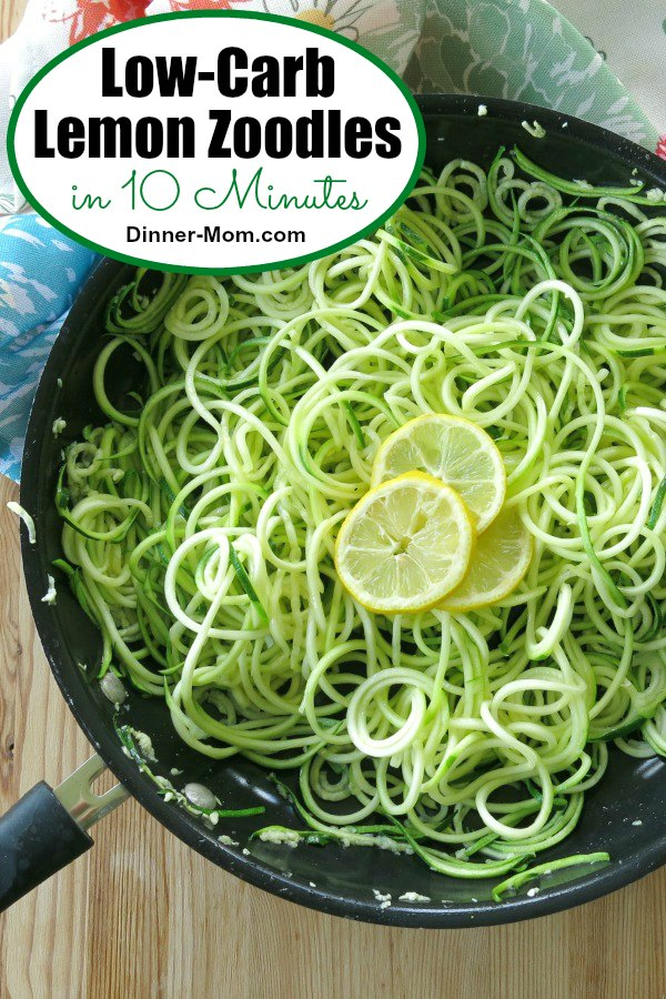 Low-Carb Lemon Zoodles are ready in10 Minutes! Pair them with shrimp, chicken or beef for an easy and healthy dinner! #lowcarblemonzoodles #zucchininoodles