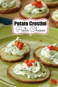 Potato Crostini Pesto Cheese Pinterest