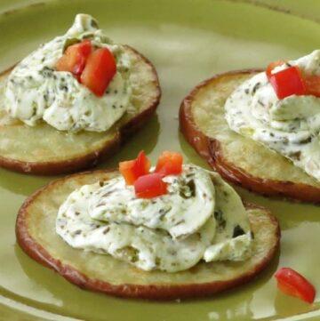 Potato Crostini with Pesto Cheese