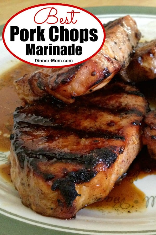 This is hands down the BEST Marinade for grilled pork chops. It's thick and sweet from molasses and has zing from cider vinegar and spices! #bestporkchopmarinade