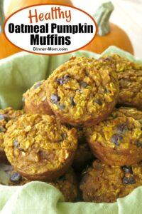 Basket of Healthy Oatmeal Pumpkin Muffins