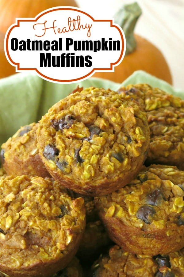 Enjoy Healthy Oatmeal Pumpkin Muffins any time you want, even for breakfast! They're packed with oats and contain a little extra protein. #pumpkin #muffins #pumpkinmuffins #glutenfree