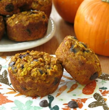 2 Pumpkin Oatmeal Chocolate Chip Muffins on napkin