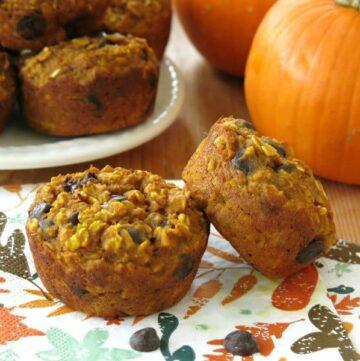 2 Pumpkin Oatmeal Chocolate Chip Muffins on napkin