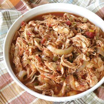 3 Ingredient Chicken Salsa in a serving dish