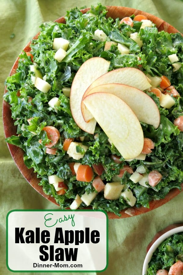 Easy Kale Apple Slaw like you find at Tropical Smoothie Cafe takes minutes to make and you never have to leave the house! #kaleappleslaw #kalesalad