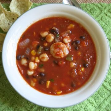 Bowl of shrimp tortilla soup
