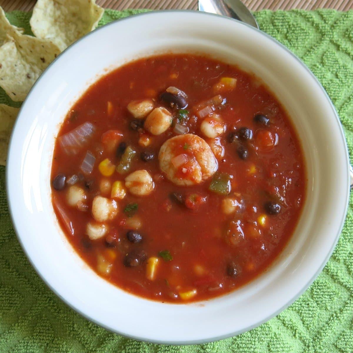 Bowl of shrimp tortilla soup