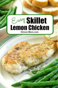 Easy Skillet Lemon Chicken Recipe Pin