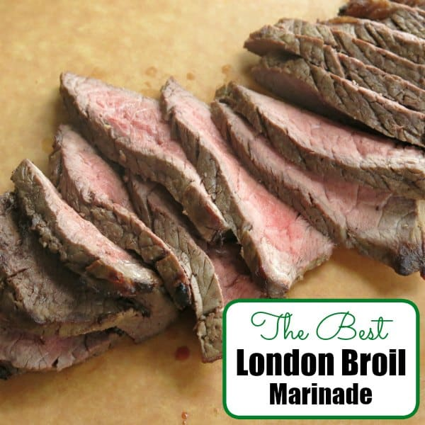 Sliced pieces of steak on cutting board using The Best London Broil Marinade