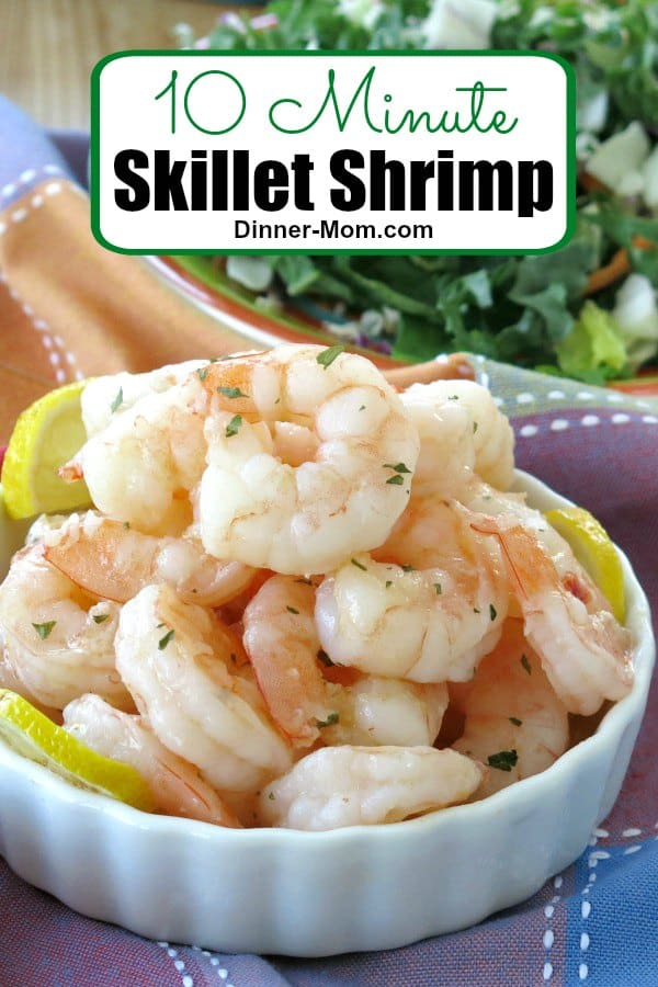 Make tender, perfectly cooked shrimp every single time using this easy skillet shrimp recipe that's ready in 10 minutes! Add to soups, salads and more for no-fuss dinners! #skilletshrimp #shrimprecipes