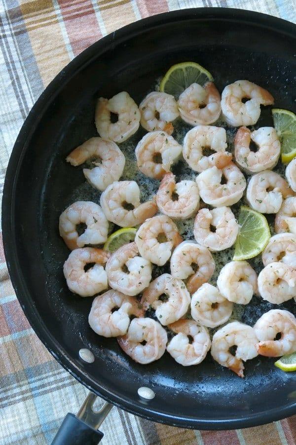 Shrimp in Skillet with lemon slices