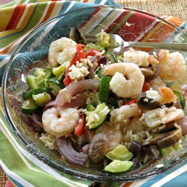 Skillet Shrimp and Rice and Vegetables on plate