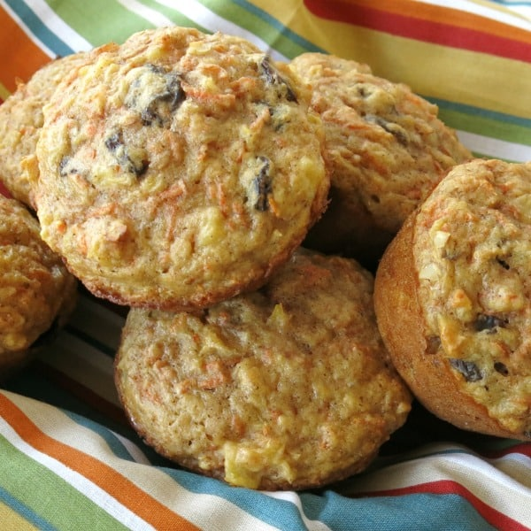 Basket of Carrot Cake Muffins with no sugar