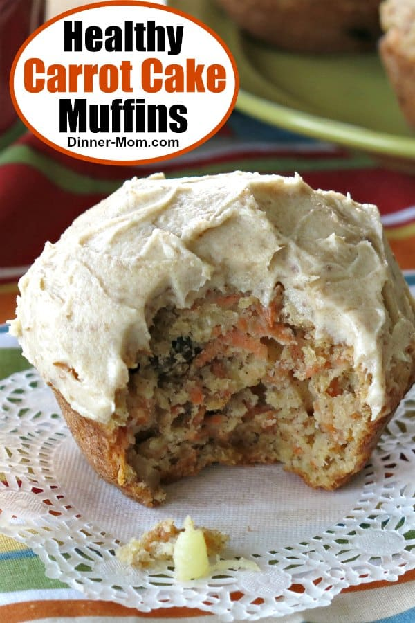 It's hard to believe these Healthy Carrot Cake Muffins with Cream Cheese Frosting have NO sugar, use Greek yogurt and whole wheat flour because they are absolutely delicious! #healthycarrotcakemuffins