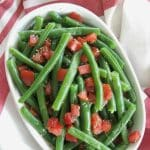 Italian Green Beans and Tomatoes in a serving dish
