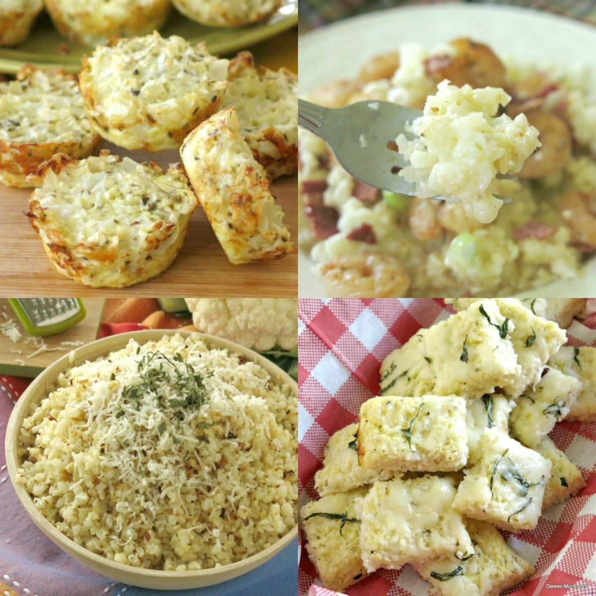 Collage of frozen cauliflower rice recipes.