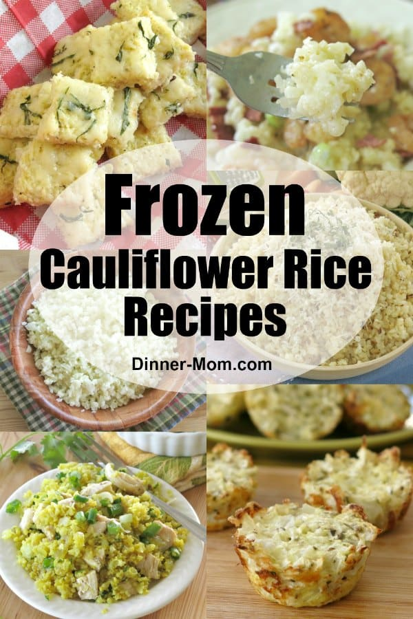 Collage of frozen cauliflower rice recipes